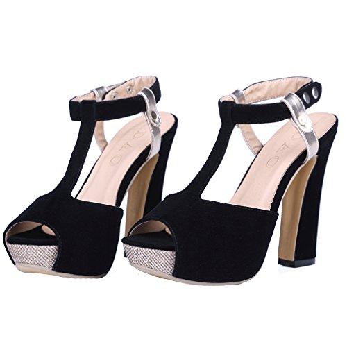 YE Damen Wildleder Peep Toe T-spangen High Heel Plateau Sandalen mit Schleife und Blockabsatz Mode Schuhe Schwarz