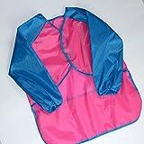 Borlai Children Kids Cute Long Sleeve Apron Waterproof Dirtproof Drawing Painting Smock (Color : Pink+Blue Sleeve)