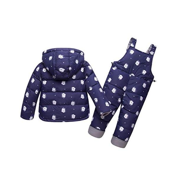 Trajes de esquí para Niños, 2 Piezas Unisexo Chaqueta de Pluma + Pantalones de Nieve Invierno Ropa 2