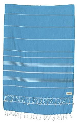 Bersuse 100% coton - Anatolia Couverture ou serviette turque XL - De multiples usages tels que le jeté de lit ou couverture de canapé, couvre-table ou napperon de pique-nique -Drap de bain, serviette de plage en Fouta Peshtemal - Pestemal rayé de manière classique - 155 X 210 cm, Bleu Océan