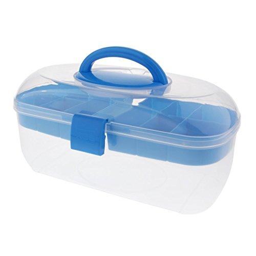 Backbayia Aufbewahrungskoffer Juwelendieb Schmuckschatulle für Nagel Shop, Make-up, Handwerk (Blau)