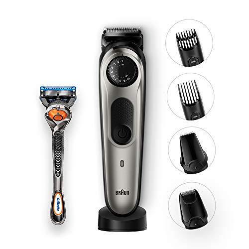 Braun BT7040 Regolabarba, Rasoio Barba Elettrico e Tagliacapelli, Accessori Rifinitore di Precisione e Mini Rasoio a Lamina