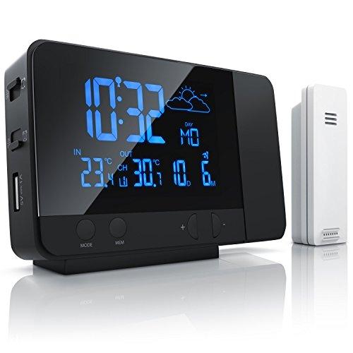 Bearware - Estación meteorológica inalámbrica con proyección y Sensor Externo - Reloj DCF con Mando...