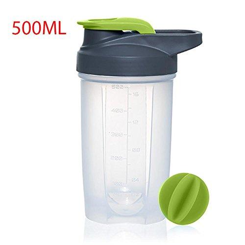 Pawaca Sports Wasserflasche, 500ml/17oz auslaufsichere Protein Powder Shaker Flasche mit 304 Edelstahl Mixer Ball & Messungen für Turnhallen Sport, Grün