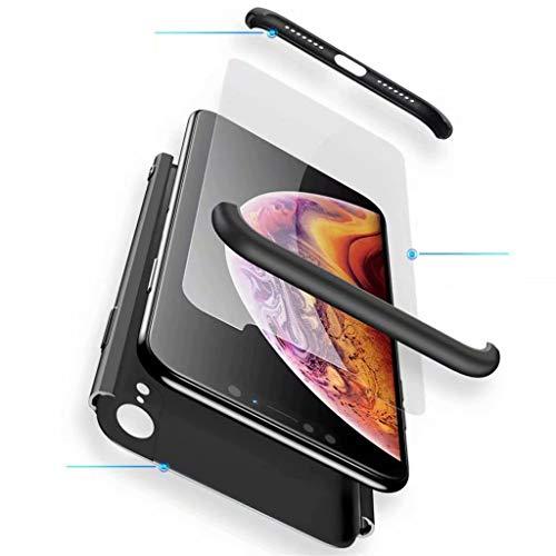 Fanxwu Kompatibel mit Samsung Galaxy M20 Hülle 3 in 1 Kombination 360 Grad Schutz Schutzhülle [Gehärtetes Glas Schutzfolie] Anti-Kratzer Schützend Abdeckung - Schwarz