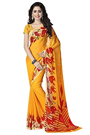 Vaamsi Chiffon Saree with Blouse Piece (RC3193_Yellow_One Size)