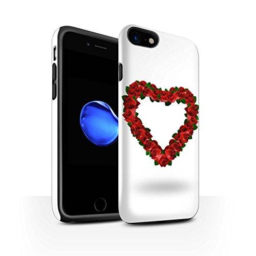 STUFF4 Glanz Harten Stoßfest Hülle / Case für Apple iPhone 8 / Liebe Herz/Schwarz Muster / Valentine Herz Kollektion Rote Rose/Blätter