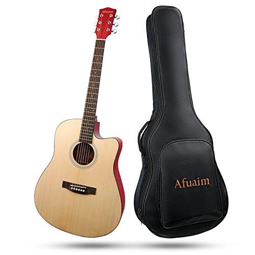Gitarre Afuaim Akustikgitarre 41 Zoll Fichte Gitarrensaite Stahl Guitar Pack mit Gig Bag,Ersatzsaiten,Poliertuch (Cutaway,Natur)