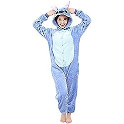 Unisexe Hot Adulte Pyjamas Cosplay Costume d'animal Onesie de nuit de nuit - M - Blue Stitch