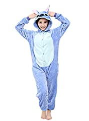 Idea Regalo - Yimidear® Unisex Pigiama Adulto Animale Cosplay Halloween Costume Attrezzatura (Blue Stitch, L)