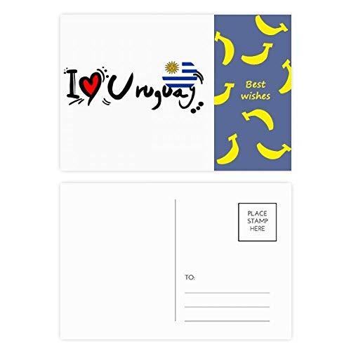 I Love Uruguay Word Flag Love Heart Illustration Banana Postkarten-Set Danksagungskarte Mailing Seite 20 Stück