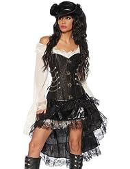 Komplett-Kostüm Steampunk-Corsage Piraten Piratin Kleid Rock Volant