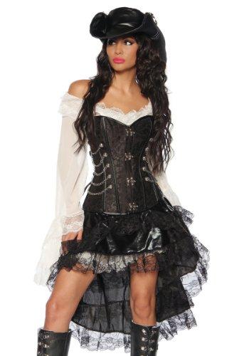 Komplett-Kostüm Steampunk-Corsage Piraten Piratin Kleid Rock Volant (Schwarz/Weiß, Gr. M = (Weiß Kostüm Und Schwarz Piraten)