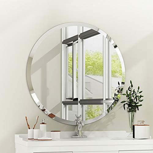 Espejo de Pared Rectangular sin Marco con Borde Biselado de Cristal Plateado para tocador de baño Redondo80...