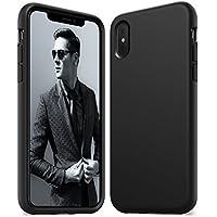 iPhone X Hülle, [Unterstützt kabelloses Laden (Qi)] Anker KARAPAX Silk Case Hülle aus Silikongel, Stoßfest Gummiert, Passgenau für iPhone X - schwarz