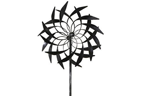 TS Gardendeco Éolienne Plume Iron, revêtu de poudre et handpainted, Platine