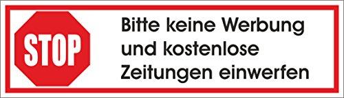 Keine Werbung! 1 weißer Briefkastenaufkleber 70x20 mm- Aufkleber STOP Bitte keine Werbung und kostenlose Zeitungen einwerfen - Aufkleber für den Briefkasten (Kostenlose Papier)