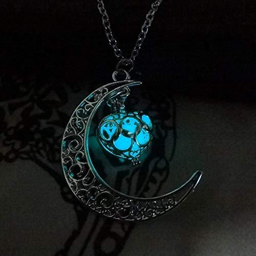 XIAOJING Charm-Halskette. Halskette mit Mondanhänger, tolles Geschenk für Frauen, leuchtet hohl, mit Kugelnacht Gr. Einheitsgröße, hellblau - Klar, Schulter Riemen
