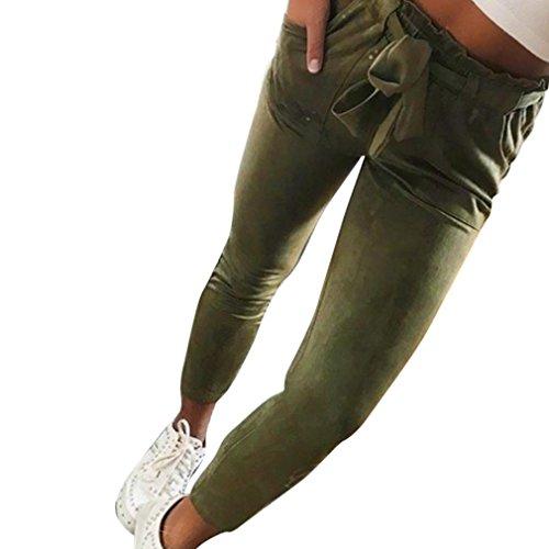 OSYARD Frauen Hosen,Hohe Taille Skinny Haremshose Elastische Taille Freizeithosen,Streetwear Hosen mit Tunnelzug Damen Reine Farbe Bowtie Elastische Taille