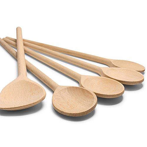RSW24® 5-TLG Kochlöffel-Set aus kräftigem Hartholz, 25-35cm Länge, aus Buchenholz, Hartholz, Verschiedene Größen, Küchenutensilien, Back-löffel und Koch-Löffel - Kochgeschirr Beliebte