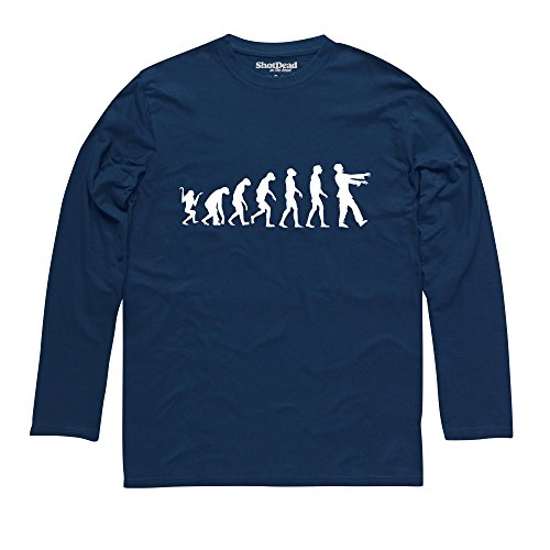 Evolution of Zombies Langarmshirt Funny Novelty Gift, Herren Dunkelblau