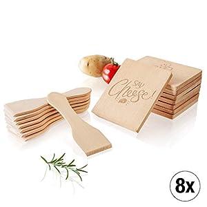 Amazy Raclette-Zubehör-Set (16-teilig) inkl. Gratis-eBook - 8 Raclette-Schaber und 8 Pfannen-Untersetzer aus Holz für einen geselligen Abend mit Familie und Freunden