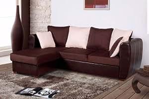 Canapé d'angle droit ou gauche convertible + coffre bi-color LOOK