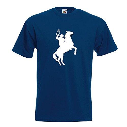 KIWISTAR - Cowboy mit Pferd Lasso T-Shirt in 15 verschiedenen Farben - Herren Funshirt bedruckt Design Sprüche Spruch Motive Oberteil Baumwolle Print Größe S M L XL XXL Navy