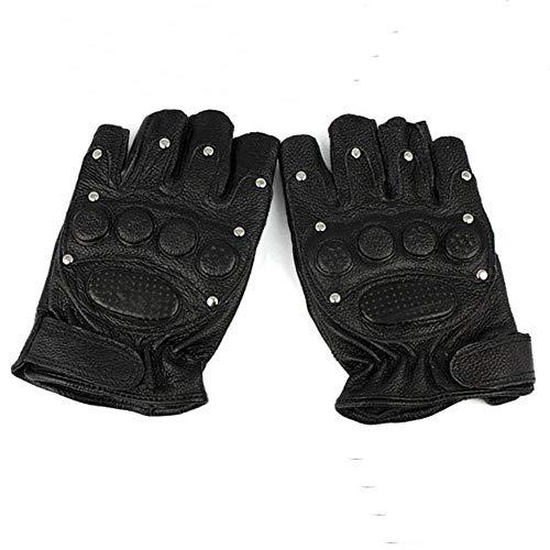 Hexiansheng Fitnesshandschuhe Sport Handschuhe Schaffell niet Fitness Handschuh militärische Lüfter halbe taktische Lederhandschuhe Reiten halbe Finger Handschuh Leder -