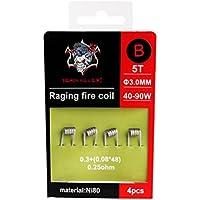 Demon Killer wickel de alambre Vape vorkompilierte Bobinas ni80alambre Raging Fire Coil Wires–4Unidades para RDA/RBA/RTA/rdta y presupuesto Uso de cableado
