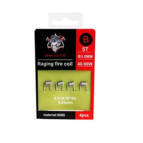 Demon Killer Wickel-Draht Vape vorkompilierte Spulen Ni80 Draht Raging Fire Coil Wires - 4 Stück für RDA/RBA / RTA/RDTA und Haushalt Verkabelung Verwendung (0,25ohm Raging Coil B)