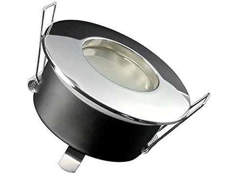 LED Einbau-Strahler für Bad, [Feuchtraum IP65], Einbau-Leuchte RW-1 chrom, 3W LED WARM-weiß, GU10 230V