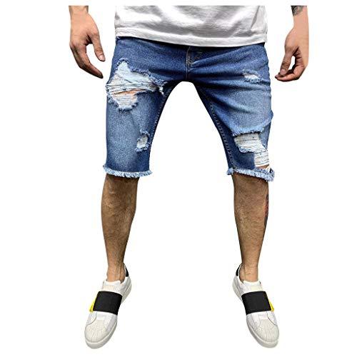 Setsail Herren Reißverschlusstasche Denim Baumwolle Multi-Pocket Overalls Shorts Fashion Pant - Denim-zwei-pocket-shorts
