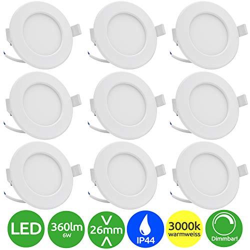 Lumare LED Einbaustrahler Dimmbar 6W 230V IP44 Ultra flach 9er Set Wohnzimmer, Badezimmer Einbauleuchten weiss 26mm Einbautiefe Mini Slim Decken Spot warmweiß