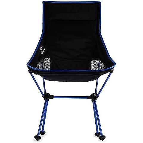 OUTAD Silla Plegable de Fácil Transporte para Camping/Playa/Pesca/ Jardín (Azul Oscuro)