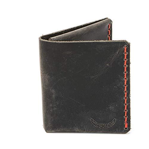 grauer mini Männer Leder Geldbeutel - rot genäht & metallfrei