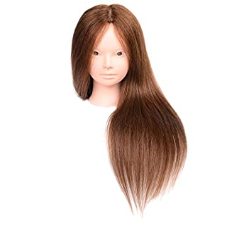 Aozzy Training Head Hairdressing 85% Real Human Hair Cosmetology Hairdressing Mannequin Manikin Head (brown)