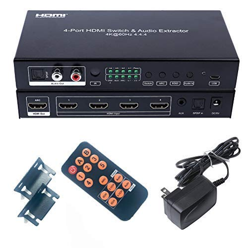 DTECH 4X1 HDMI 2.0 Switch 4K 60Hz 4:4:4 HDR 18Gbps Audio Extractor mit SPDIF optischem Toslink L/R RCA Ausgang IR Remote HDCP 2.2 ARC CEC - 4 in 1 Out