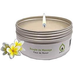 Bougie de massage sensuelle FLEUR DE MONOÏ 100% végétale, 80gr, longue durée