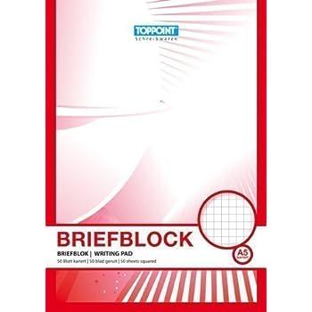 5 Briefblöcke Briefblock kariert DIN A5 Schreibblock