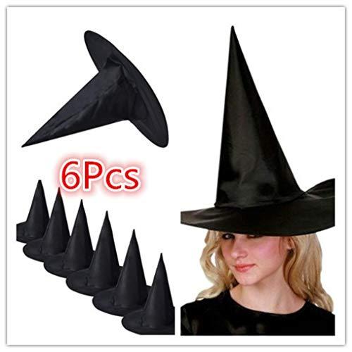(LCLrute 6Pcs Hexenhut Klein Halloween Hexen Hut mit Bommel und -Gesicht Orange Oder Schwarz Universalgröße)