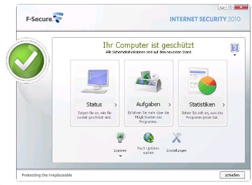 F-Secure Internet Security 2010, 3 User, 12 Monate, UPDATE auf 2011 Inklusive