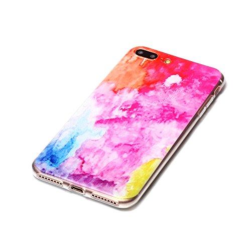 iPhone 7 Plus Hülle, SHUNDA Ultra Dünn Schutzhülle Weiche TPU Silicone Stoßstangen Handyhülle Abdeckung Rückschale Case cover für iPhone 7 Plus (5.5 inch) - Feder Rosa Marmor