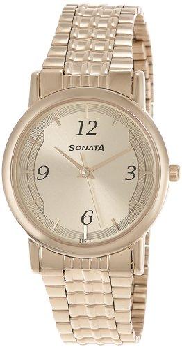 41nar9AIsnL - Sonata 7987YM01 Wedding Gold Mens watch