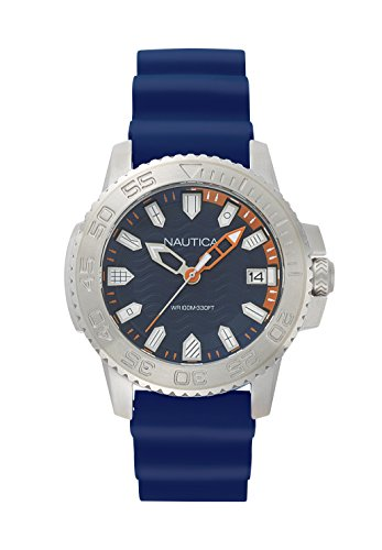 Nautica Men's 'KEYWEST' Quartz Stainless Steel and Silicone Casual Watch, Color:Blue (Model: NAPKYW001)