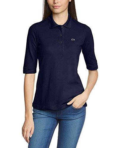 Lacoste PF0088 Klassisches Damen Polo, Polohemd, Polosshirt mit 3/4 Arm, Kurzarm. Regular Fit, für Freizeit und Sport, 100% Baumwolle Blau (Navy Blue 166), EU 48 (Ärmel Polo-shirt Baumwolle 3/4)