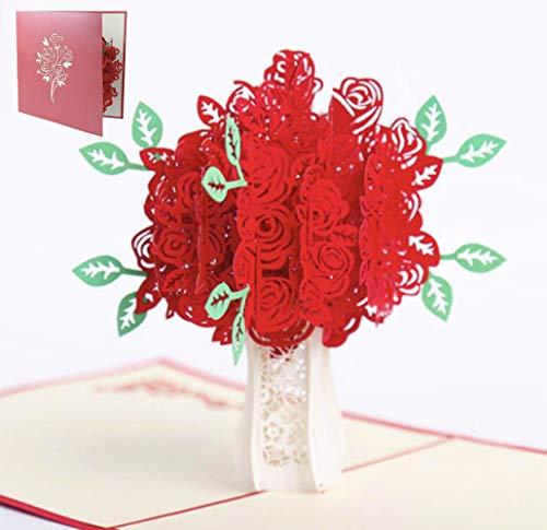 QIMMU Hochzeitskarte Rosenstrauß, Hochzeitsgeschenke für Brautpaar, Valentinstag Karte, Geburtstagskarte, Muttertagskarte, Geldgeschenk, Muttertagsgeschenk, Geschenk für Mama, Pop Up Karte