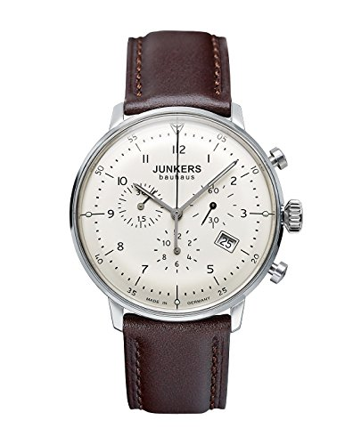 Junkers Men's Chronograph Watch Bauhaus Series with Beige Dial Display and Brown Leather Strap 6086-5