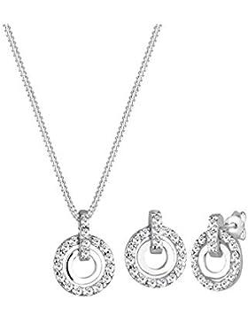 Elli Damen-Halskette + Ohrringe Kreis 925 Sterling Silber Swarovski Kristall weiß Brillantschliff 0912670511_45