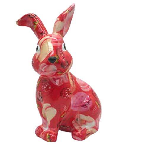 Pomme Pidou Spardose Kaninchen Helena   Original e Keramische Kaninchen Spardose   gelb mit Herzen und Vögel Gratis Geschenkbox   Liebevoll Handgemacht